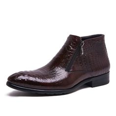90.00$  Watch now - http://aliuud.worldwells.pw/go.php?t=32791186516 - 2017 Latest Men's Chelsea Boots Genuine Leather Zipper Round Toe Embossed Leather Men's Wedding Shoes Chakku Ankle Dress 90.00$