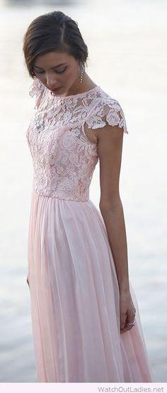 Light pink lace bridesmaid dress