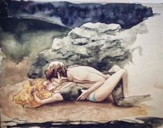 "ribbitsplace: ""I haven't posted in ages, but since I finally read lady midnight, I had to paint the beach scene >. "" Whoa!"