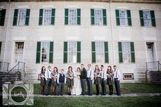 Bride and Groom with their bridal party on their wedding day at Shaker Village in Lexington, KY by Amanda May Photos