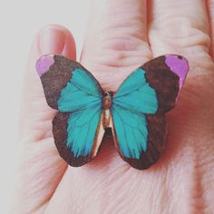 Teal and purple Butterfly adjustable ring by NewellsJewels on Etsy