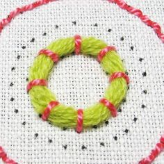 finished embroidered ring of couched wool