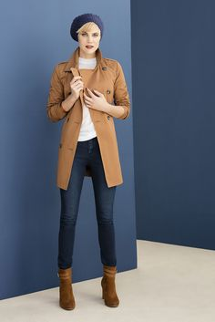 The trench on those casual days we pair it with a mock turtle neck and slim fit denims, for a little french flair add a beanie. Mock Turtle, Turtle Neck, Shoe Shop, Trench, Must Haves, Choices, Fashion Online, Fashion Accessories, Beanie