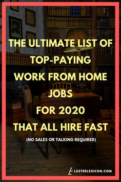Jobs From Home Discover 14 Best Work from Home Jobs that Hire Fast & Pay Good - Luster Lexicon Does making a liveable income online sound good to you? These are the 13 best work from home jobs that hire fast and pay good in Work From Home Companies, Work From Home Opportunities, Work From Home Tips, Business Opportunities, Business Ideas, Best Home Business, Home Based Business, Earn Money From Home, Way To Make Money