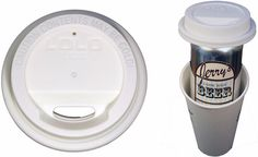 White Lolo Lid and a Lolo Lid snapped onto a beer going into a coffee cup