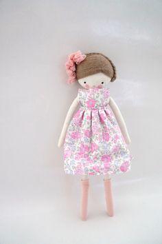 Saray,  handmade rag doll  cloth doll with dress, socks and adorn hair