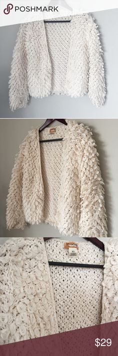 MUDD fuzzy cardigan sweater off white Good condition. Worn several times. Warm and soft. Coat. Sweatshirt. Chanel Dior Zara Fendi Kenzo Prada Hermes Michael Kors Valentino Lacoste Louis Vuitton Balenciaga Alexander Wang Kate Spade Hugo Boss Burberry Prada Gucci Runway Fashion show.  Free people. Premuim Signature collection. Bundle with other items to get 15% off. Sweaters Cardigans