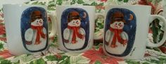 Elaine Thompson Christmas mugs/cups set of 3  1997 snowman and the moon Holiday