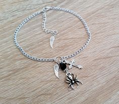 Silver Spider Anklet Ankle Chain Cross Angel by LadySkullingtons