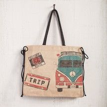 The Traveler Burlap Tote by Mona B