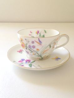 Vintage Bone China Butterfly and Blooms Pattern by MariasFarmhouse, $29.00