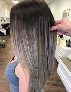Silver Gray Balayage Ombre Hair Silver hair isn't going anywhere! Accentuate a millennial grunge wardrobe with gray brunette balayage. Ombre Hair Long Bob, Balayage Straight Hair, Brown Ombre Hair, Ombre Hair Color, Hair Color Balayage, Cool Hair Color, Brown Hair Colors, Hair Highlights, Brown Highlights