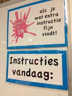 Een deel van de muur gebruiken voor de kinderen die extra instructie willen.
