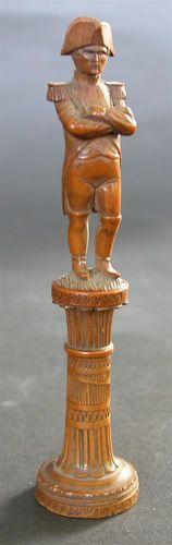 Antique Carved Napoleon Bonaparte Black Forest Needle Case; Circa 1830's