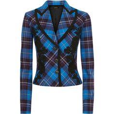 La Perla Daily Looks Blue Cool-Wool Tartan Jacket With Macramé... ($995) ❤ liked on Polyvore featuring intimates and la perla