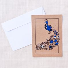 A beautiful blank card with a peacock. Each card is made with a variety of…