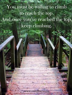 """You must be willing to climb to reach the top. And once you've reached the top, keep climbing."" ~ Daniela Masaro"