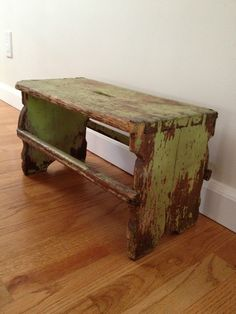 Antique Country Primitive Small Wooden Bench Stool Handmade | eBay