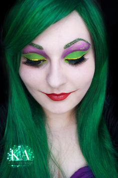 Here's a quick look I did inspired by the Joker! I did a Harley look around Halloween one year, so I should really have a Joker look too!