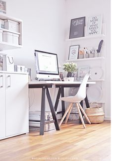 Black and white workspace   FINNVARD trestle legs painted black   Love the stripy pots