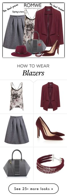 """Romwe high waist wine grey skirt"" by lorrainekeenan on Polyvore featuring Girls On Film, Manon Baptiste, Kristina George, NOVICA, Reiss and Gianvito Rossi"