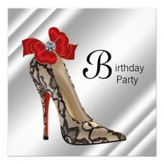 Red Black High Heel Shoe Birthday Party Personalized Invitations