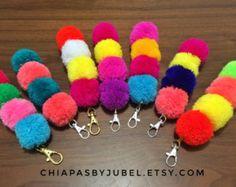 pom pom and tassels keychain BIG size / colorful bag charm /