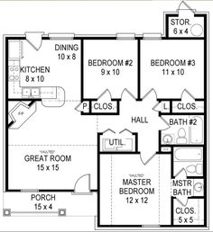 1200 Sq Ft 4 Bedroom House Plans Google Search House House