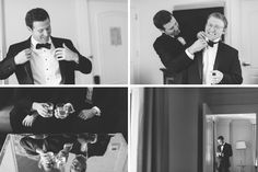 Groom preps for his wedding day at Pier 60 & The Lighthouse. Captured by NYC wedding photographer Ben Lau.