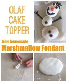 Olaf Marshmellow Fondant Cake Topper