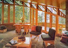 Seth Peterson Cottage. 1958. On Mirror Lake in Lake Delton, Wisconsin. Usonian. Frank Lloyd Wright