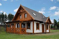 Agnieszka II (z garażem) - Domy drewniane SENDOM Pool Construction, Cottage Homes, Log Homes, Tiny House, Cabin, Interior Design, House Styles, Modern, Google