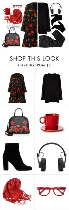 """""""red poppy / black coffee"""" by ms-wednesday-addams ❤ liked on Polyvore featuring Simone Rocha, RED Valentino, Kate Spade, IRO, Master & Dynamic and Ace"""