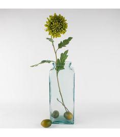 kr. 99,- Aflang Firkantet Glasvase, Grønlig,lav