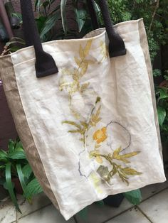 Tote bag of natural imprints direct from plants #'designertotebags'
