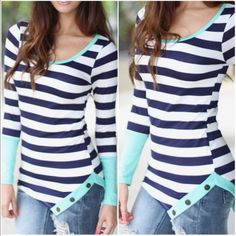 Long sleeve striped top Pop of Mint-navy & white stripes with button details. Medium (6/8) Price is firm unless bundled. Tops