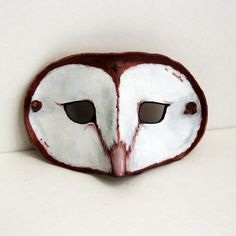 Leather Barn Owl Mask -Costume Play Masquerade - Woodlands Brown and White Summer Trends