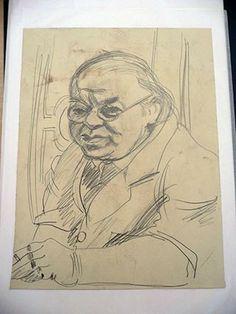 """""""Der berühmte Drucker Erhardt"""": Bleistiftzeichnung von Hans Körnig um 1952. Bildrechte: Museum Körnigreich"""