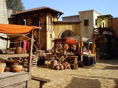 Market scene with balcony on the set of Roman Mysteries season two at Boyana Studios, Bulgaria. Photo courtesy of Jason Carlin. 2007.