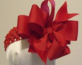 Items similar to Red  Christmas Hair Bow Double Layered with Headband on Etsy