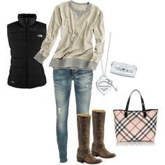 Really like the boots and the sweatshirt together. The puffy vest is okay, but I could do without the Tiffany's bling.
