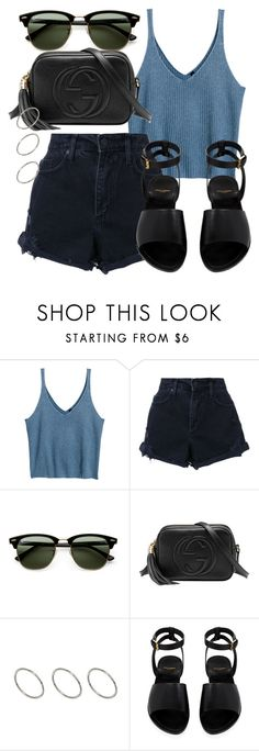 """Untitled #4433"" by beatrizvilar on Polyvore featuring H&M, Nobody Denim, Ray-Ban, Gucci, ASOS and Yves Saint Laurent"