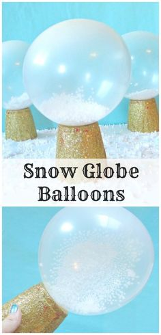 Snow globe balloons are the perfect winter and Christmas party decoration! Balloon Christmas Decorations, Winter Party Decorations, Photobooth Christmas, Christmas Dance, School Dance Decorations, Winter Wonderland Centerpieces, Snowflake Centerpieces, Frozen Party Decorations, Christmas Balloons