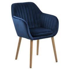 Mynte velour stol mørkeblå - Polstret