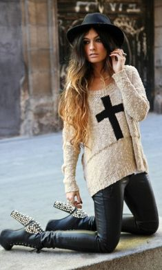 Jeffery Campbell shoes/ LOVE THE SWEATER!