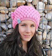 Čiapky - Retro ružová čiapko-baretka - 6140740_