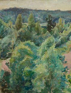 The Lush Landscape - Pekka Halonen, 1920 Finnish, 1865-1933 Watercolour, 51 x 41 cm.