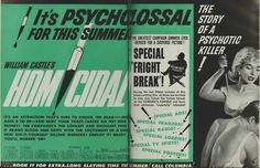 """Advertisement for """"Homicidal""""."""