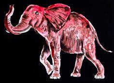 """Pink Elephant""  30x40 cm.  Acrylic on canvas  2015"