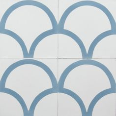 This popular fish scale pattern is used in contemporary commercial and domestic interiors.  Makes an attractive design in the modern kitchen or bathroom.  This pattern is blue colour 39 on white background 01. Available for delivery in 5-10 working days.  #BlueTiles #EncausticTiles #InteriorDesign